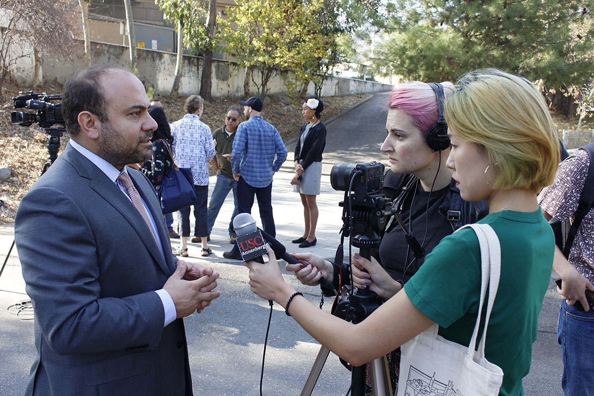 Adrin Nazarian with reporters